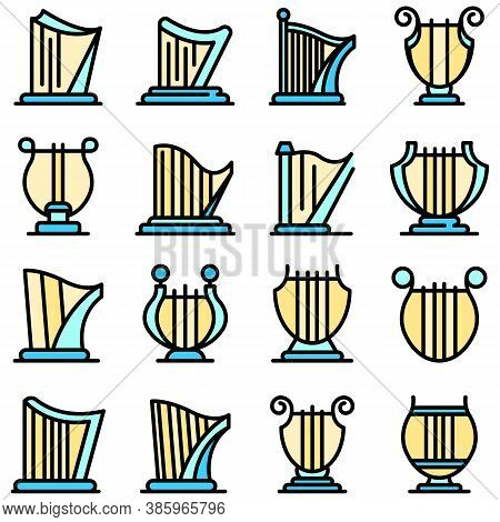 Harp Icons Set. Outline Set Of Harp Vector Icons Thin Line Color Flat On White