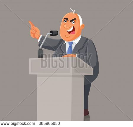 Politician Speaking On The Podium At The Microphone