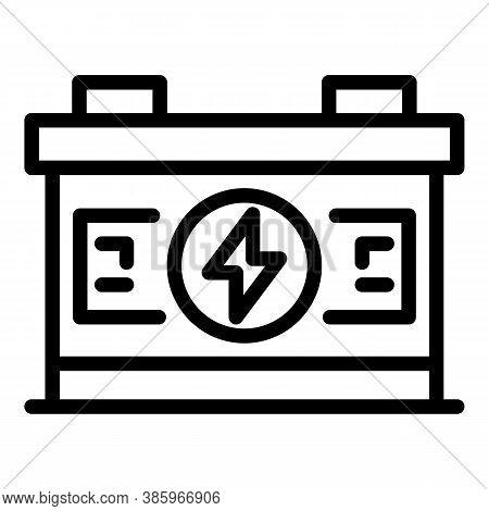 Full Car Battery Icon. Outline Full Car Battery Vector Icon For Web Design Isolated On White Backgro