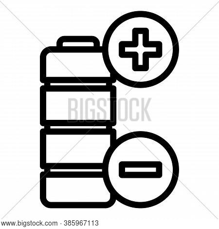 Plus Minus Battery Icon. Outline Plus Minus Battery Vector Icon For Web Design Isolated On White Bac