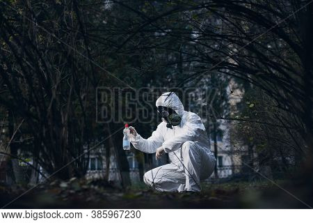Laboratory Assistant Working In Residential Area, Researching Plastic Litter, Wearing Protective Cov