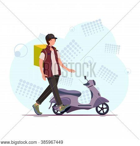 Covid-19. Coronavirus Epidemic. Online Delivery Service Concept. Scooter Courier, Delivery Man In Re