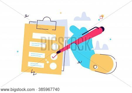Vector Cartoon Illustration Of Hand Holding Clipboard With Checklist And Pencil. To-do List And Plan