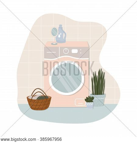 Washing Machine With Washing Clothes Vector Illustration In Flat Cartoon Style. Vector Stock Illustr
