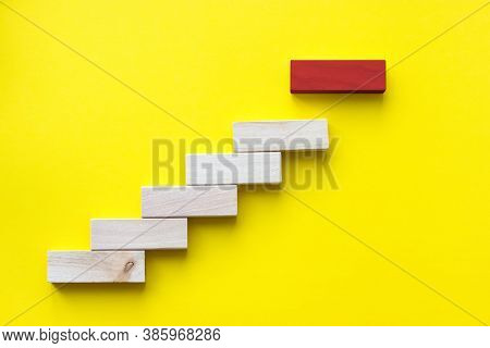 Red Wooden Block On Yellow. Business Planning, Risk Management, Solution, Leader, Strategy, Differen