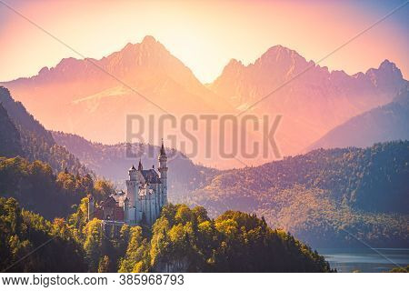 Beautiful View Of World-famous Neuschwanstein Castle, The Nineteenth-century Romanesque Revival Pala