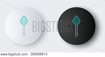 Line Honey Dipper Stick Icon Isolated On Grey Background. Honey Ladle. Colorful Outline Concept. Vec