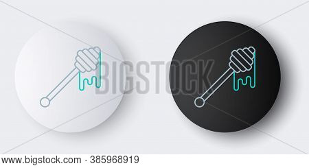 Line Honey Dipper Stick With Dripping Honey Icon Isolated On Grey Background. Honey Ladle. Colorful