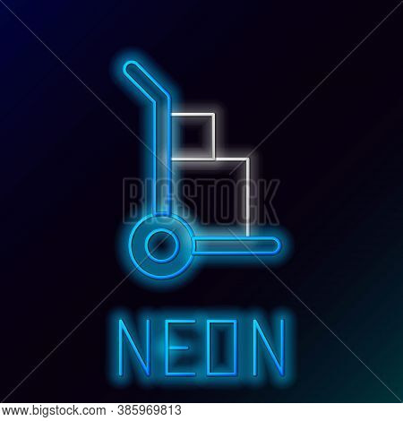Glowing Neon Line Hand Truck And Boxes Icon Isolated On Black Background. Dolly Symbol. Colorful Out