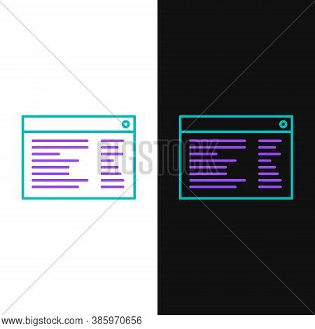 Line Software, Web Developer Programming Code Icon Isolated On White And Black Background. Javascrip