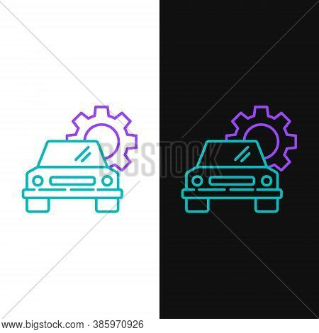 Line Car Service Icon Isolated On White And Black Background. Auto Mechanic Service. Repair Service