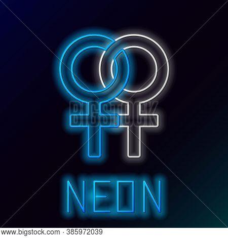 Glowing Neon Line Female Gender Symbol Icon Isolated On Black Background. Venus Symbol. The Symbol F