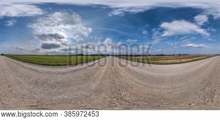 Full Spherical Seamless Hdri Panorama 360 Degrees Angle View On No Traffic Sand Gravel Road Among Fi