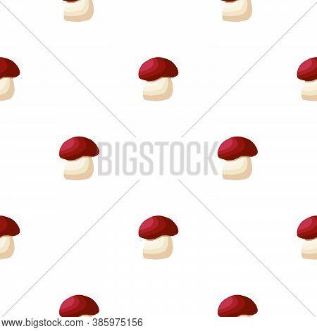 Illustration On Theme Of Bright Pattern Brown Mushroom, Vegetable Porcini For Seal. Vegetable Patter