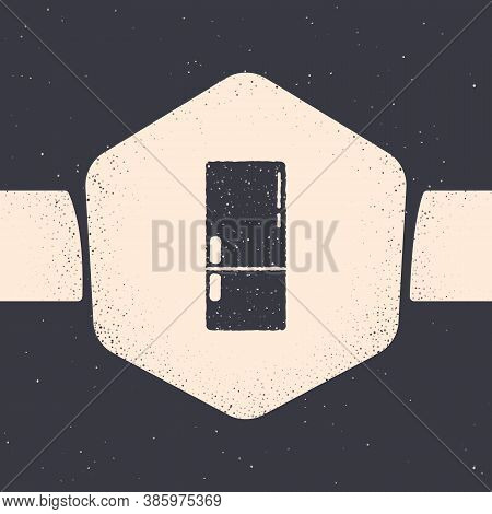 Grunge Refrigerator Icon Isolated On Grey Background. Fridge Freezer Refrigerator. Household Tech An