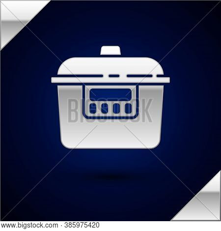 Silver Slow Cooker Icon Isolated On Dark Blue Background. Electric Pan. Vector
