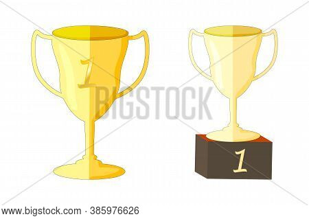 Trophy Cup Isolated On White Background. Set Of Golden Goblet, Winners Cup For Sport Event Or Compet