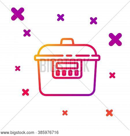 Color Line Slow Cooker Icon Isolated On White Background. Electric Pan. Gradient Random Dynamic Shap