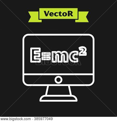 White Line Math System Of Equation Solution On Computer Monitor Icon Isolated On Black Background. E