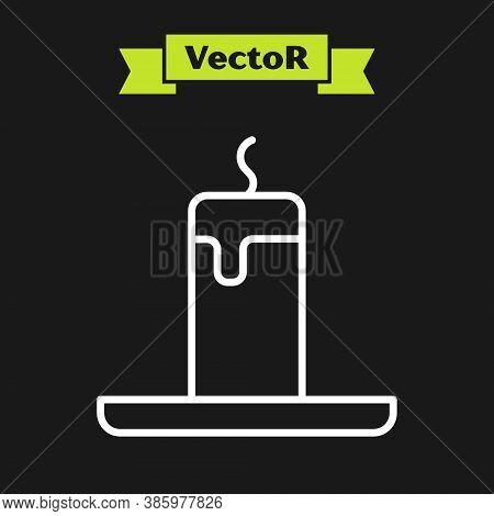 White Line Burning Candle Icon Isolated On Black Background. Cylindrical Candle Stick With Burning F