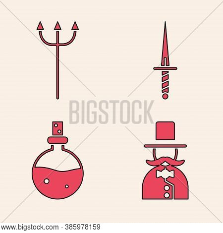 Set Magician, Neptune Trident, Dagger And Bottle With Love Potion Icon. Vector