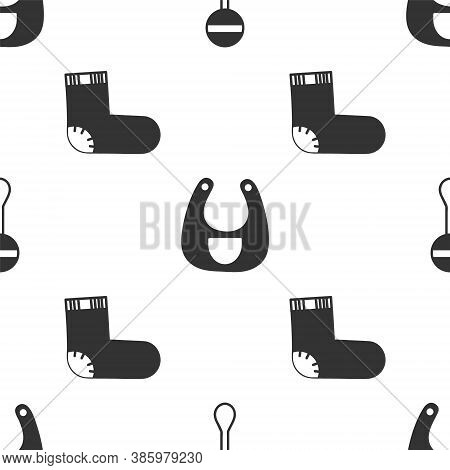 Set Rattle Baby Toy, Baby Bib And Baby Socks Clothes On Seamless Pattern. Vector