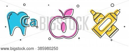 Set Calcium For Tooth, Apple And Crossed Tube Of Toothpaste Icon. Vector