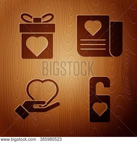 Set Please Do Not Disturb With Heart, Gift Box With Heart, Heart On Hand And Envelope With Valentine