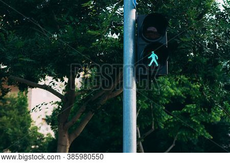 Traffic Light On A Pole With A Green Light In The Form Of A Man. Traffic Light With Green Light And