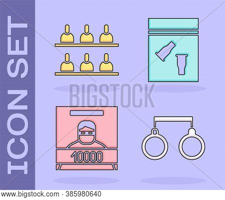Set Handcuffs, Jurors, Wanted Poster And Evidence Bag And Bullet Icon. Vector