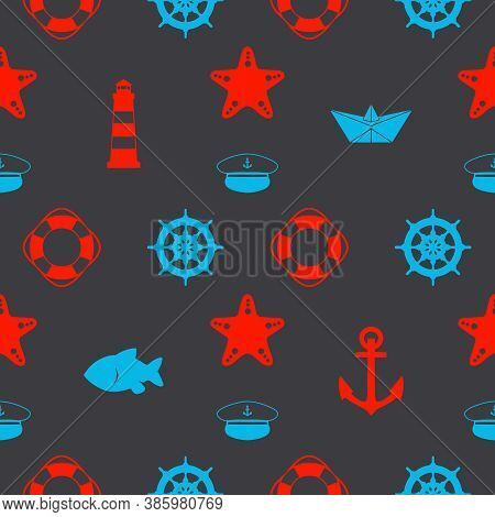 Maritime Seamless Pattern With Red And Blue Nautical Icons Like Paper Ships, Sailor Hat, Anchors And