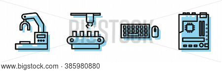 Set Line Keyboard And Mouse, Robotic Robot Arm Hand Factory, Factory Conveyor System Belt And Mother