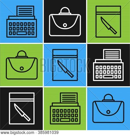 Set Line Retro Typewriter, Evidence Bag And Knife And Briefcase Icon. Vector