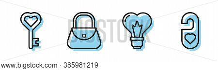 Set Line Heart Shape In A Light Bulb, Key In Heart Shape, Handbag And Please Do Not Disturb With Hea