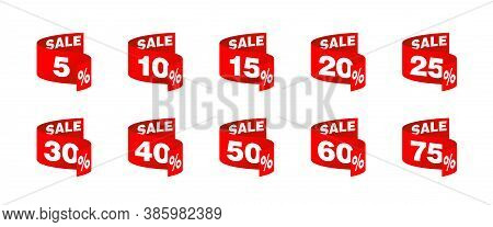 Vector Tags For Sales In Rounded Decoration In Creative Decoration With Different Percentage - 5, 10