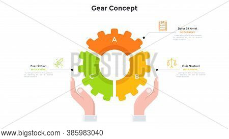 Hands Holding Gear Wheel Pie Chart Divided Into 3 Colorful Parts. Concept Of Three Features Of Techn
