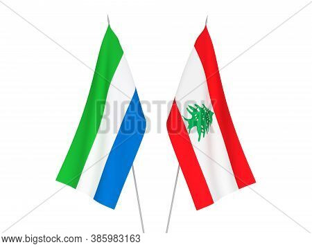 National Fabric Flags Of Sierra Leone And Lebanon Isolated On White Background. 3d Rendering Illustr