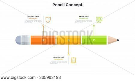 Pencil Divided Into 3 Colorful Parts. Concept Of Three Features Or Characteristics Of School Educati