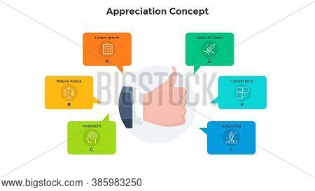 Hand Demonstrating Thumbs Up Gesture Surrounded By Speech Bubbles. Concept Of Appreciation, Acceptan