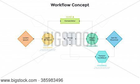 Workflow Diagram Or Block Scheme With Colorful Elements Connected By Lines. Concept Of Business Proc