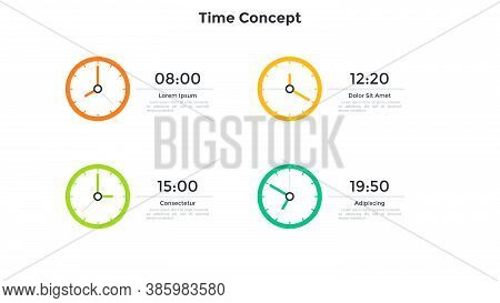 Four Colorful Clock Faces And Time Indication. Concept Of Timetable, Schedule, Appointment Planning,