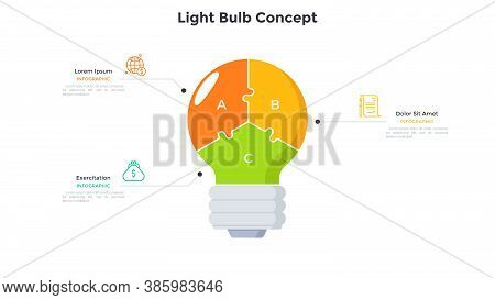 Lightbulb Divided Into 3 Colorful Parts. Concept Of Three Features Of Innovative Technology For Fina