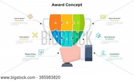 Hand Holding Champion Cup Or Goblet Divided Into 6 Colorful Jigsaw Puzzle Pieces. Concept Of Six Ste