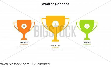 Three Colorful Champion Cups Or Goblets. Concept Of 3 Places In Business Competition, Contest, Tourn
