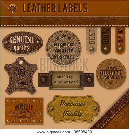 Leather labels set collection  - eps10