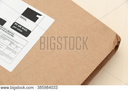 Mail Package With Label. International Shipping. Sent By Air Mail. Top View.