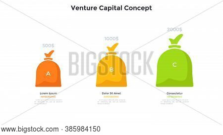 Three Colorful Money Bags. Concept Of Three Steps Of Venture Capital Investment, Startup Project Fun
