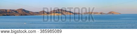 Seascape Series Of Mountains On The Black Sea, Long Panorama. Sunset In The Bay Of Koktebel, Mount C