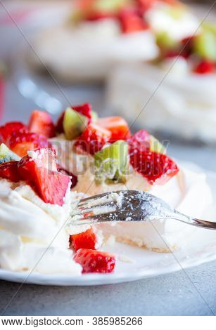 Delicious Pavlova Cake With Meringue And Fresh Fruit