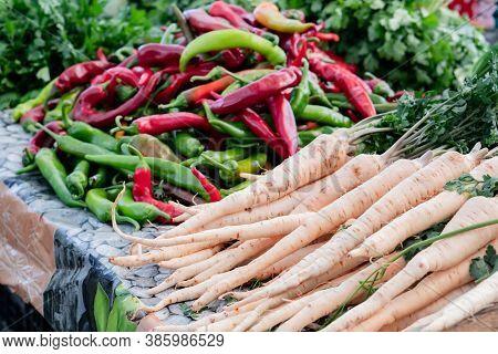 Colorful Vegetables In Street Market, Vegetable Background, Street Market. Sunday Market In Marsaxlo